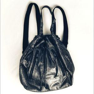 Gianni Bini Silver Metallic Drawstring Backpack